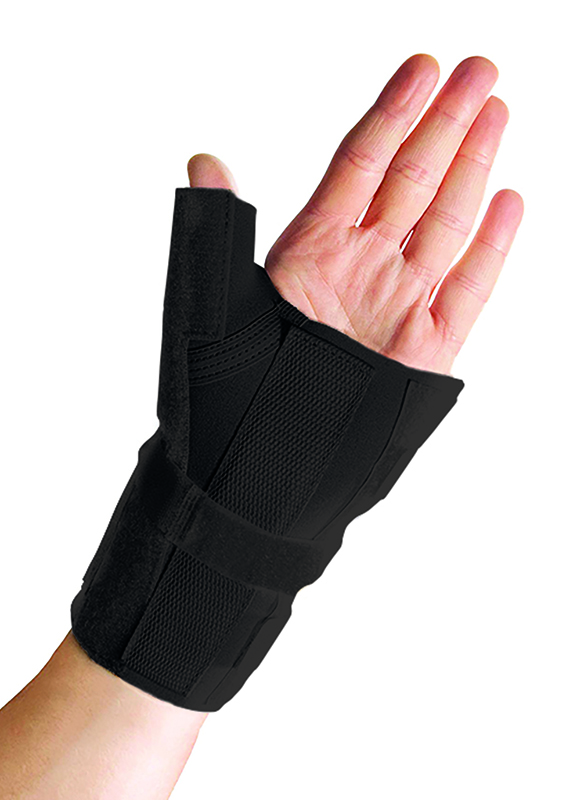 Thermoskin Wrist Brace with Thumb Splint, Black, Left, $39.95  main product image
